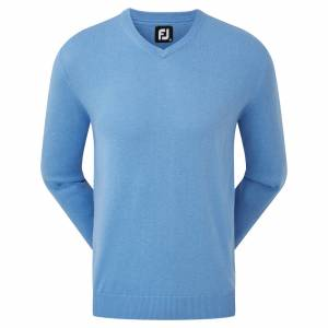 Pulover FootJoy Wool Blend V-Neck, Bărbați, Albastru